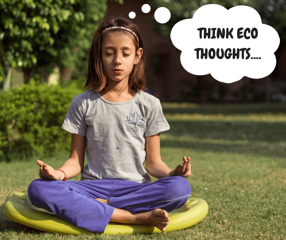 girl meditating thinking eco thoughts about zero-waste lifestyle