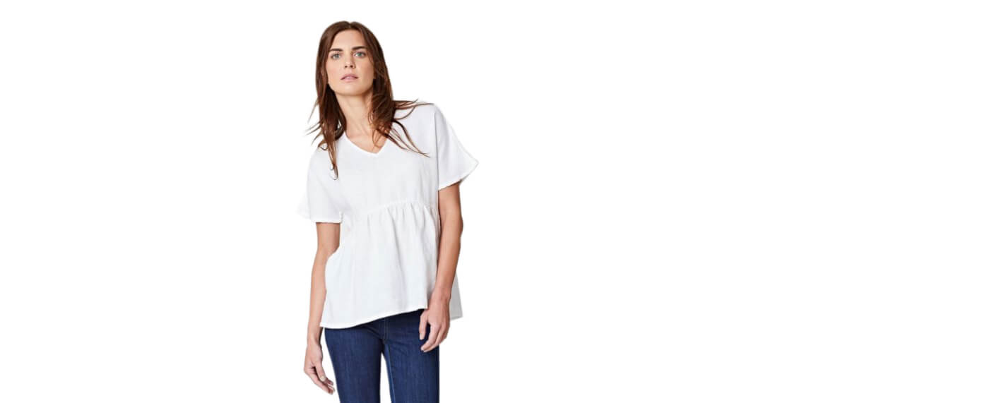 Chic Summer V-neck Hemp Top, by Thought